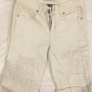 American eagle cream colored jeans with lace
